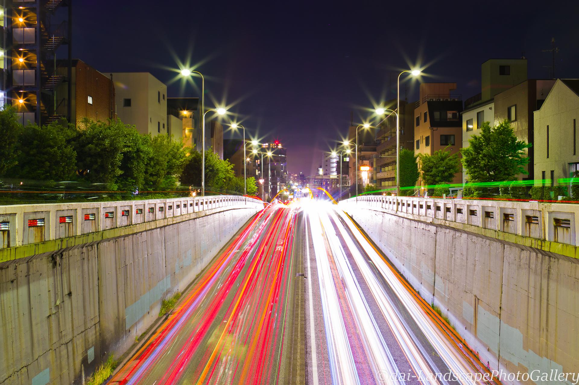 環七若林陸橋夜景