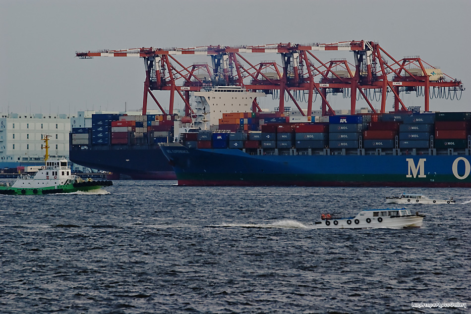 東京港を行き交う船