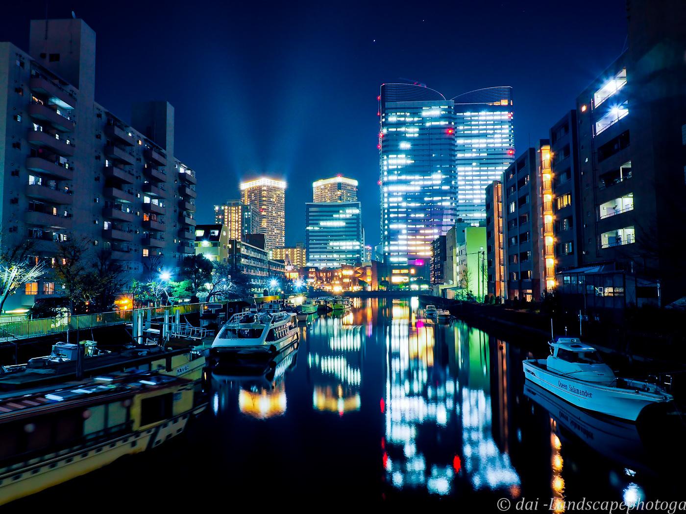 月島川夜景