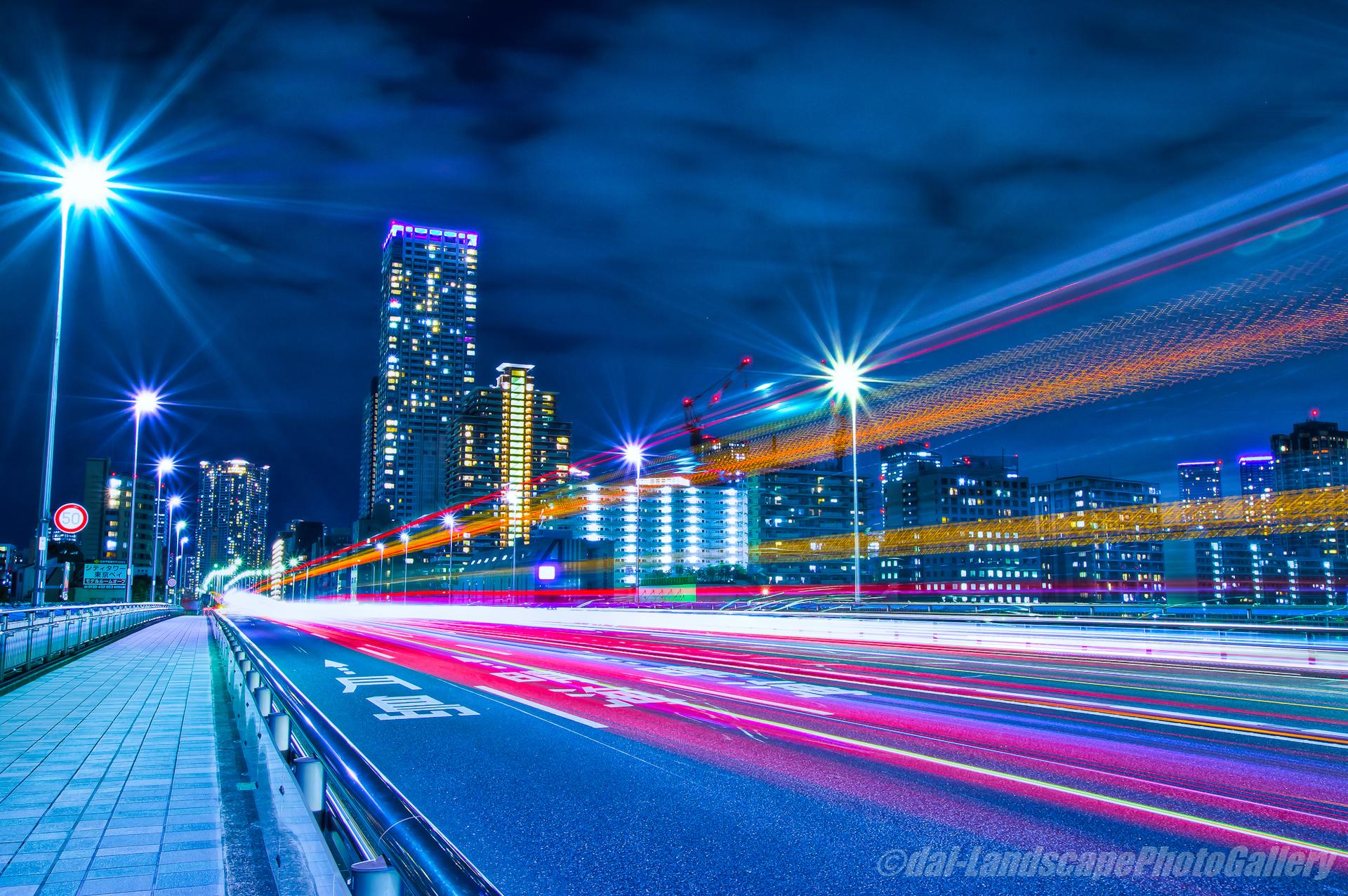 佃大橋の光跡【HDRi】