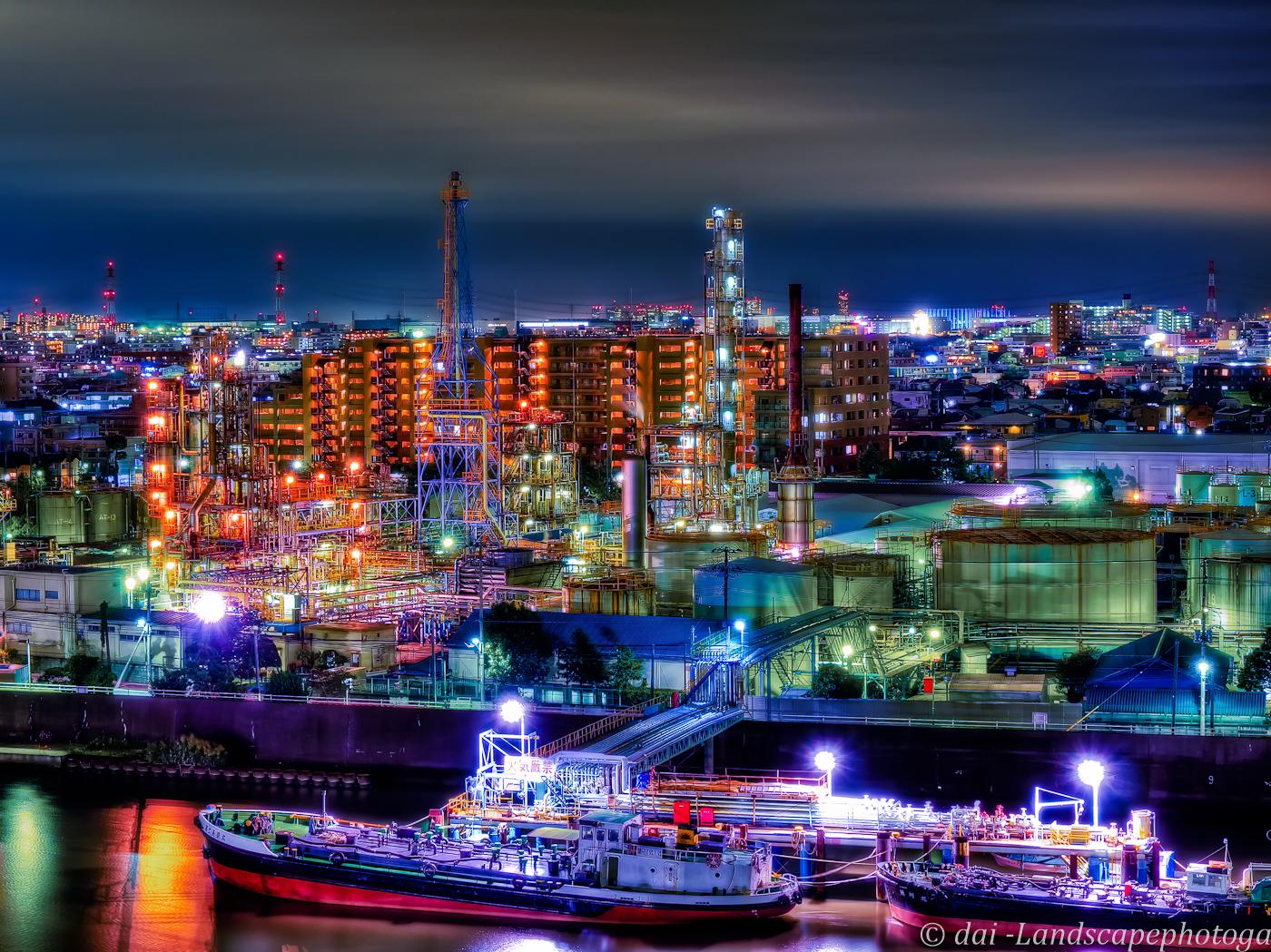 三共油化工業工場夜景【HDRi】
