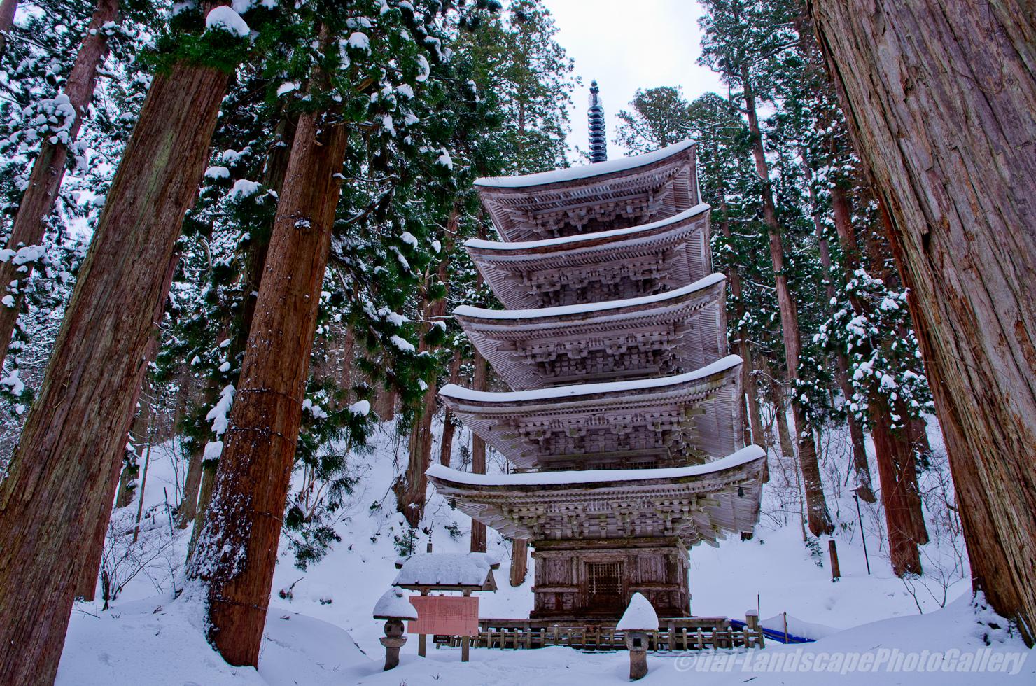 冬の羽黒山五重塔
