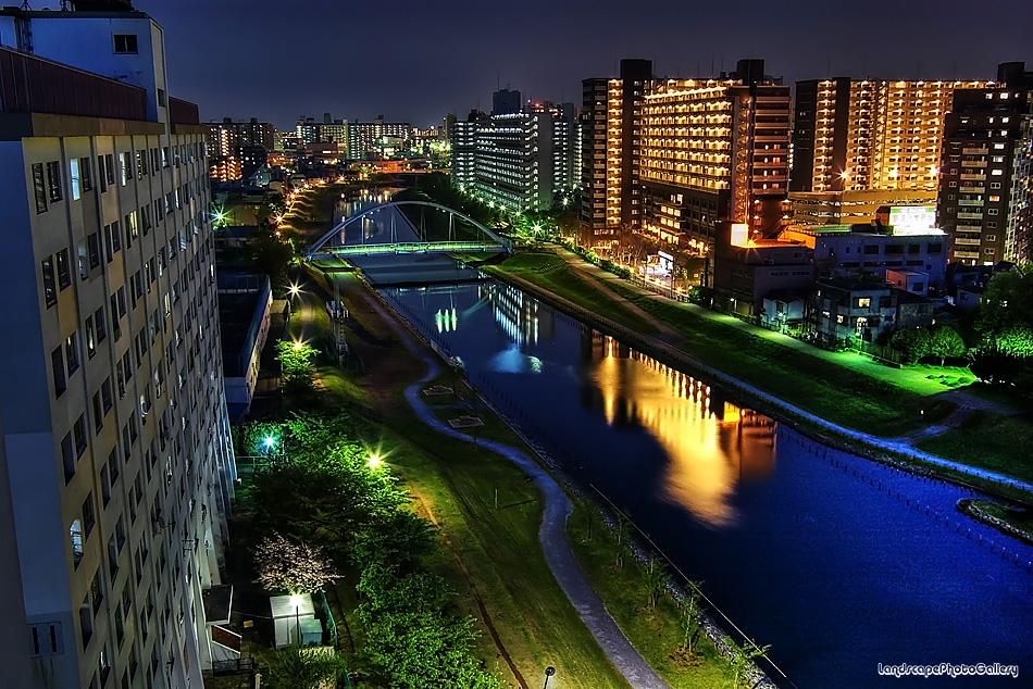 旧中川の夜景【HDRi】