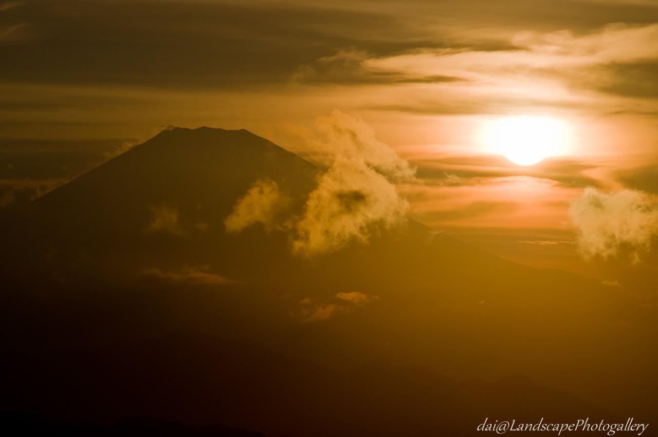富士山と夕日