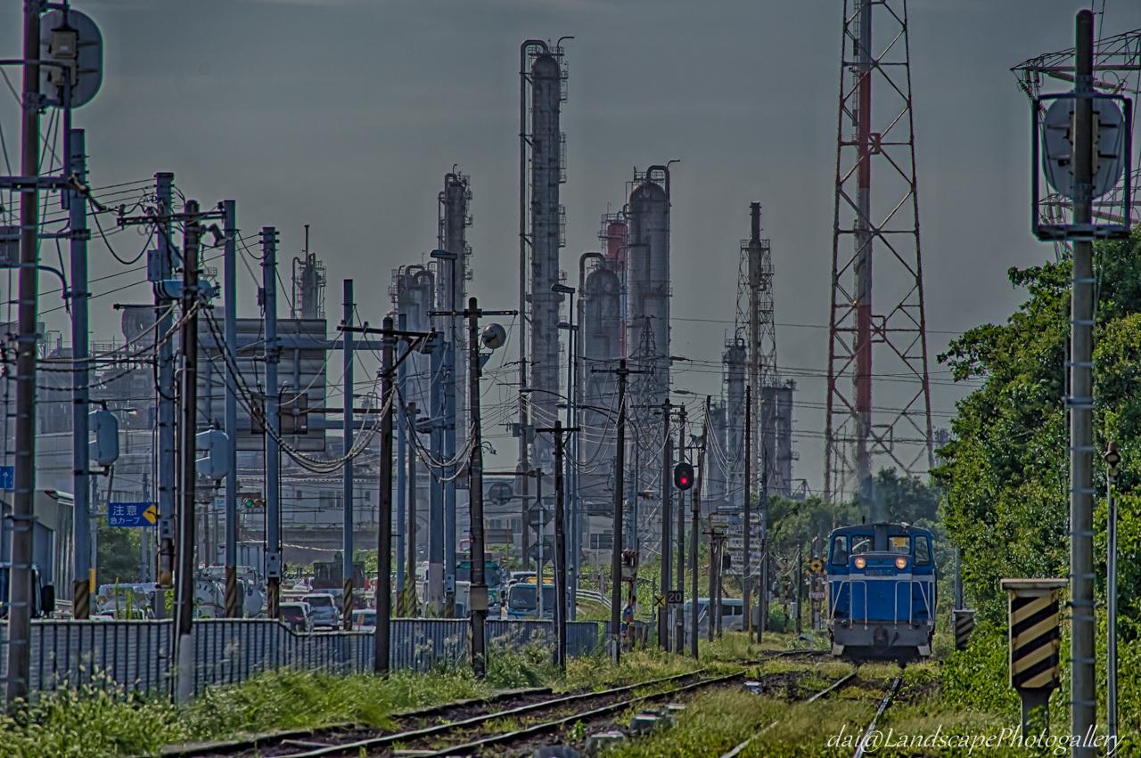 工場地帯の臨海鉄道風景【HDRi】