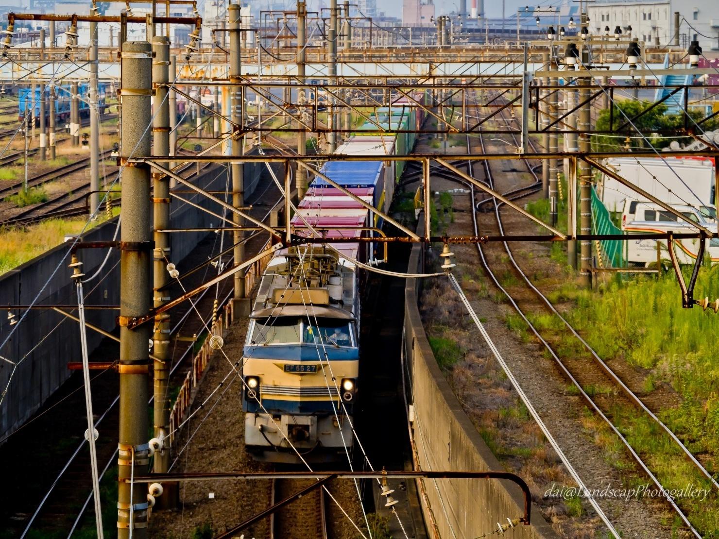 朝日を受けるEF66-27貨物列車