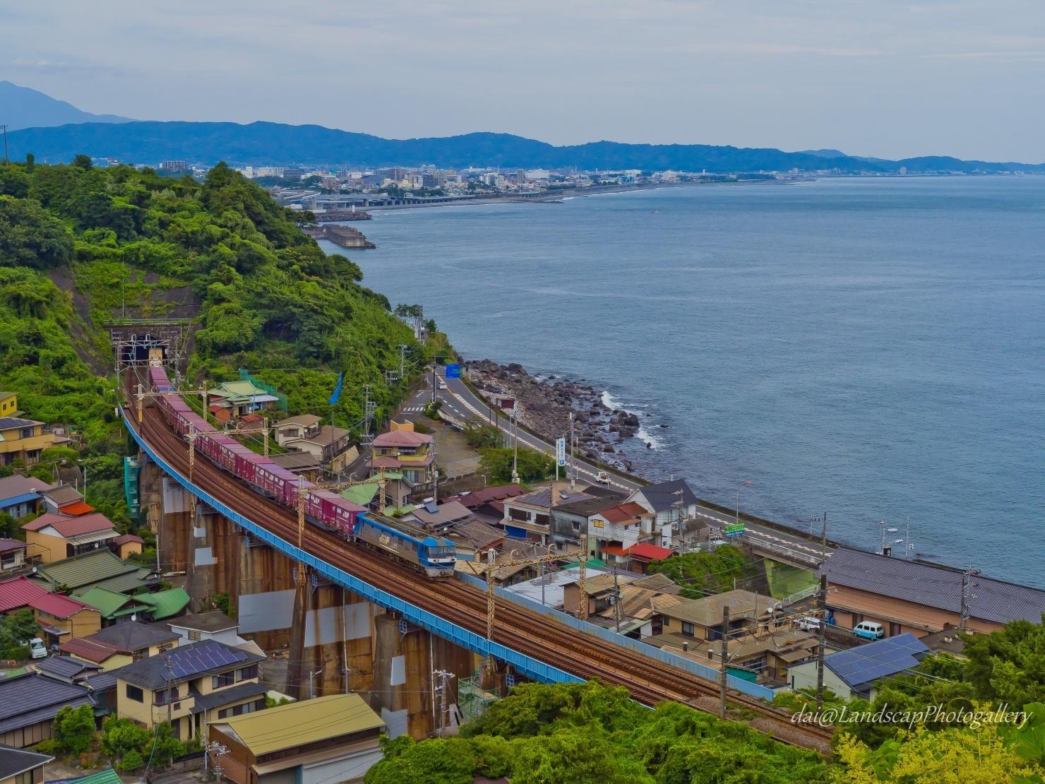 EF210コンテナ列車 玉川橋梁俯瞰風景