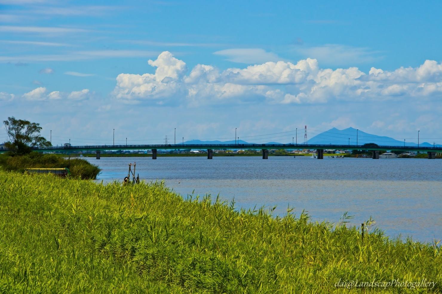 常陸利根川と筑波山
