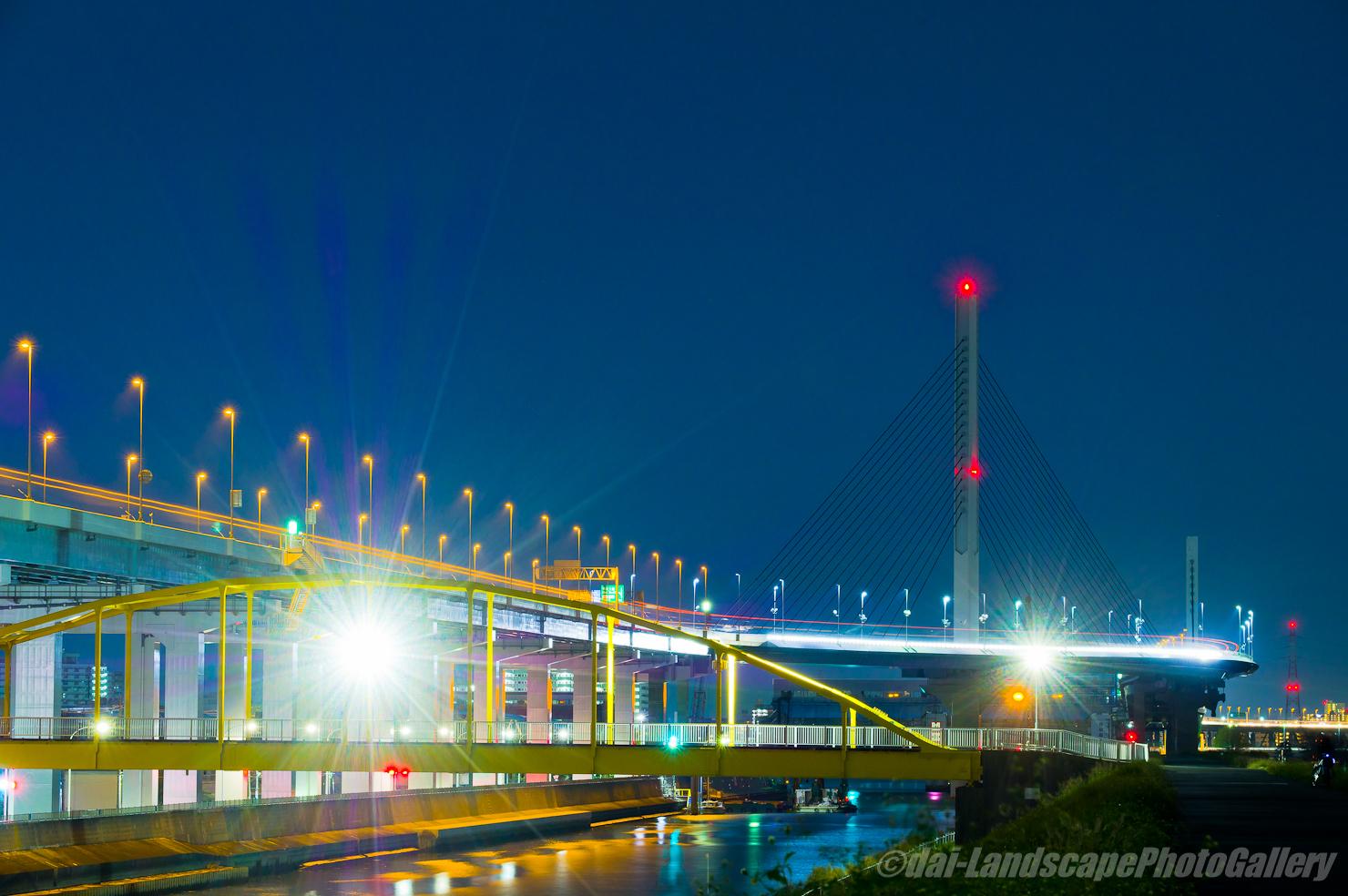 深夜のかつしかハーブ橋