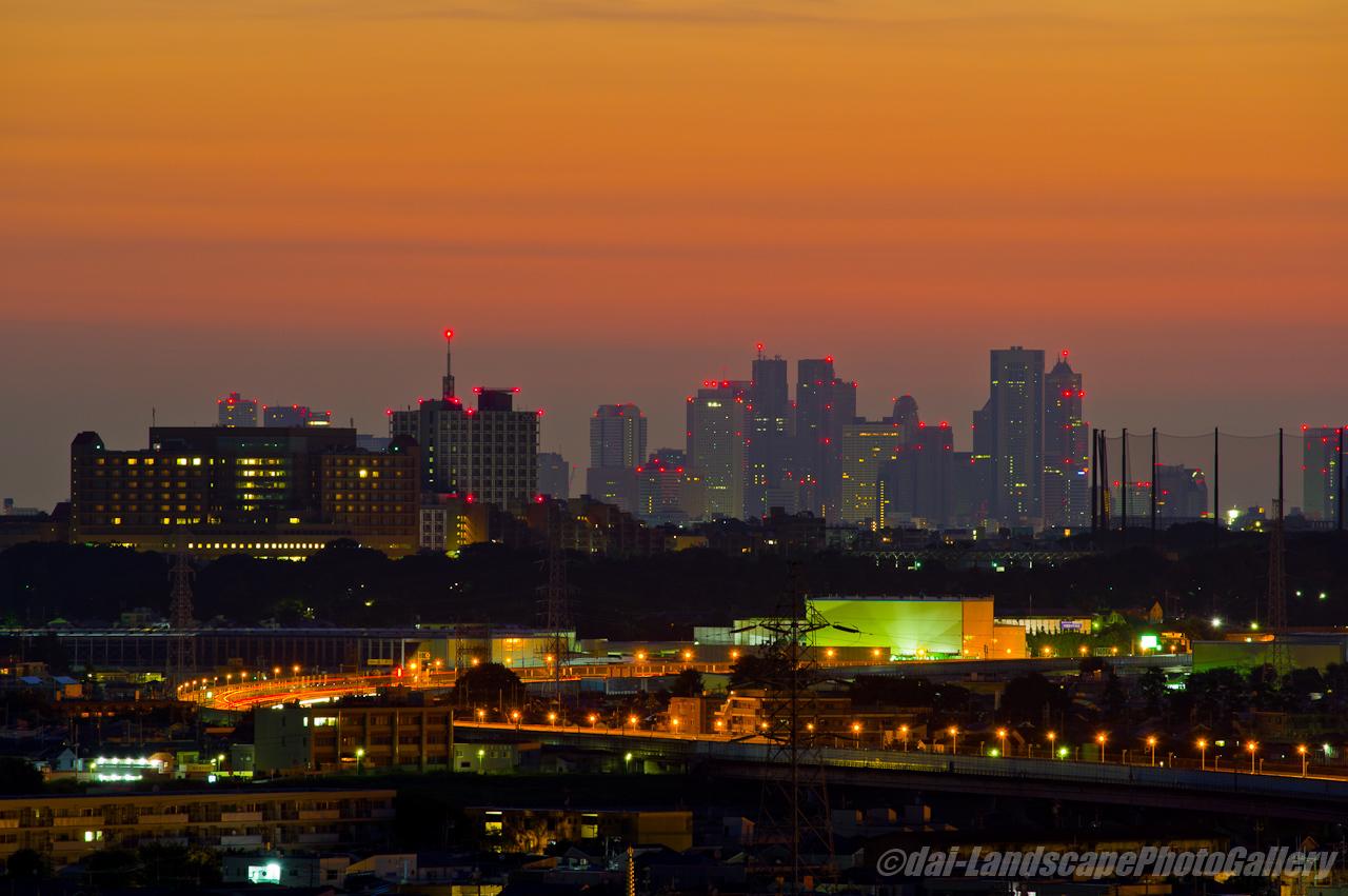 朝焼けの空と新宿高層ビル群のシルエット