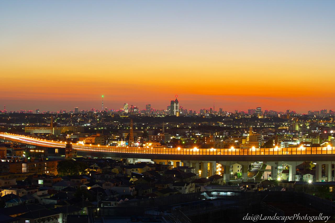 朝焼けの空と都市の灯