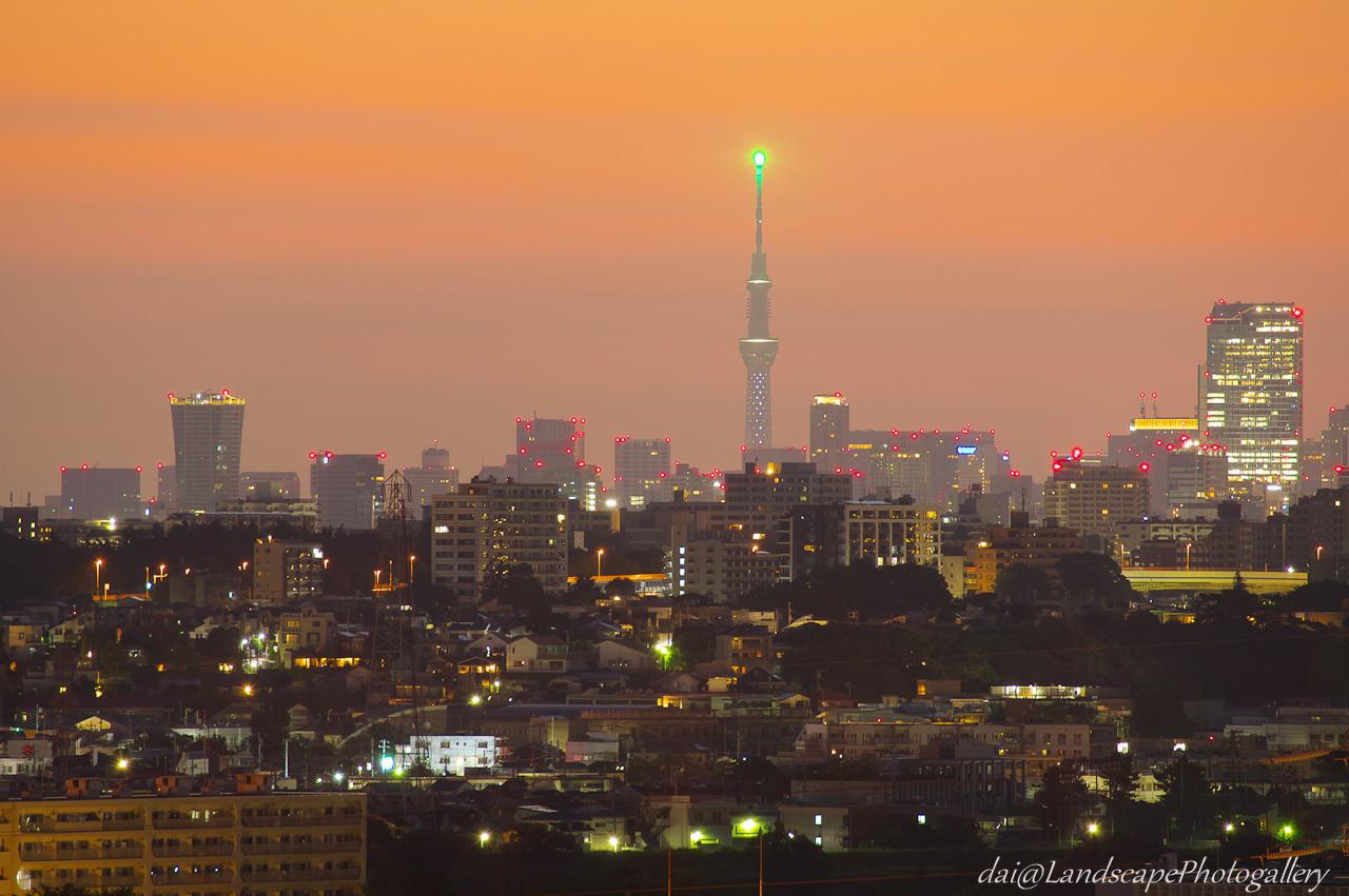 朝焼けの空と東京スカイツリー遠望
