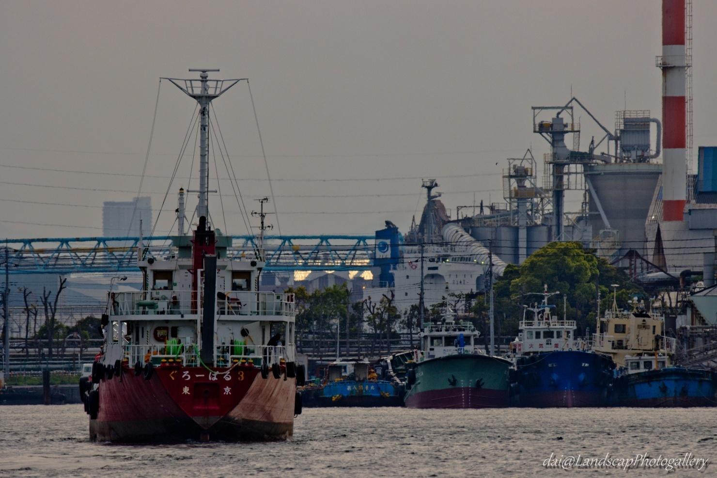 川崎港 貨物船風景