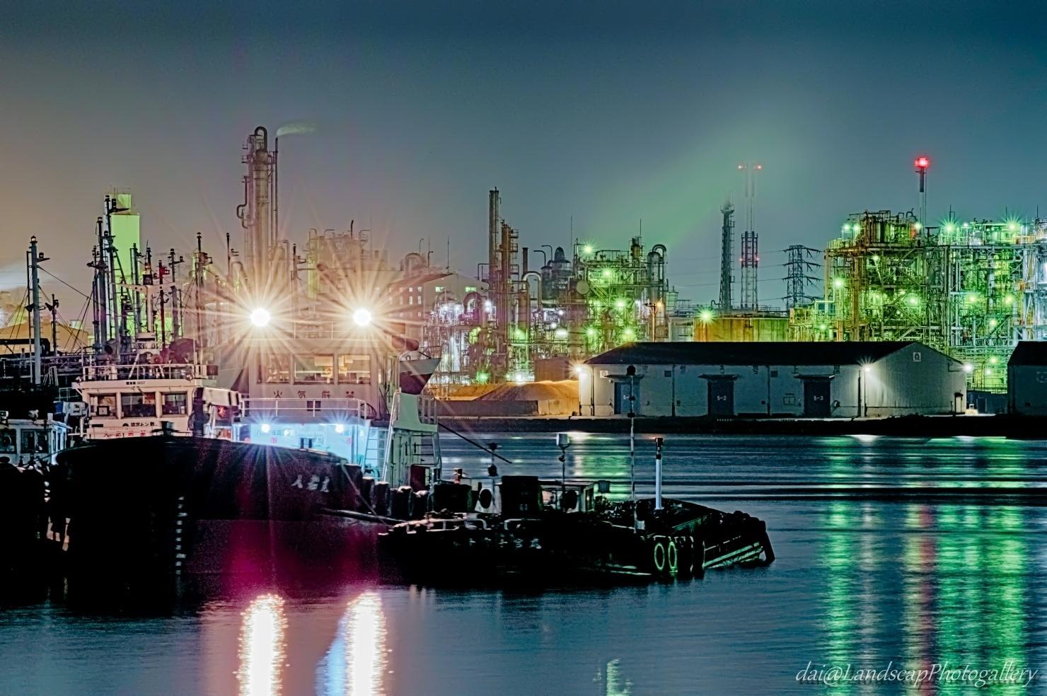 川崎水江運河工場夜景【HDRi】