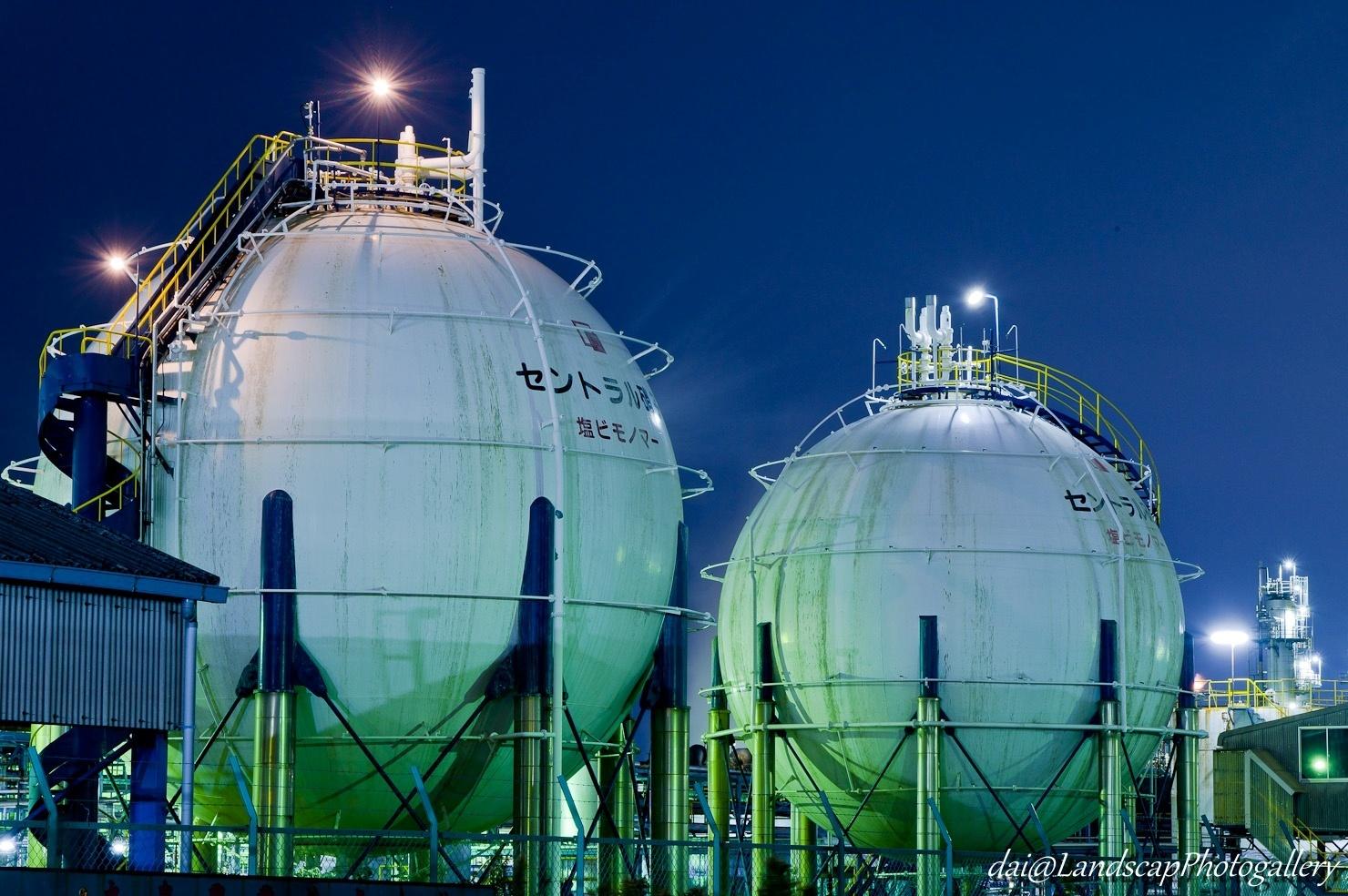 セントラル硝子工場夜景
