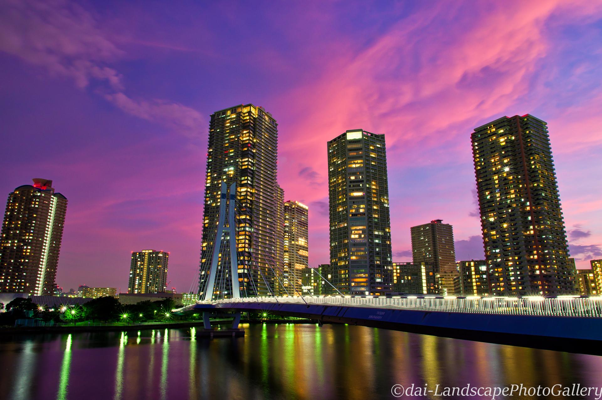辰巳桜橋の夕景