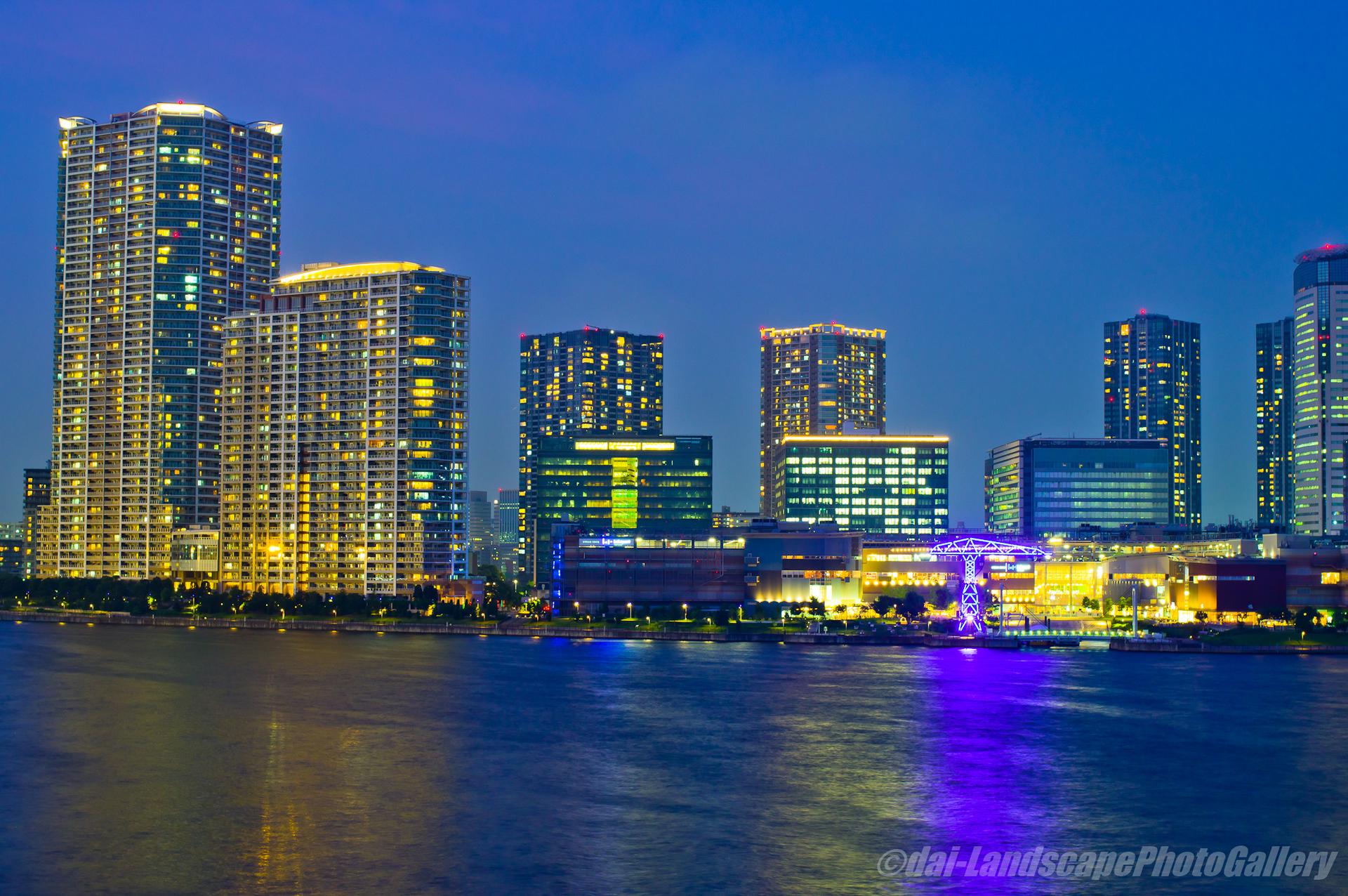 晴海大橋 薄暮の夜景