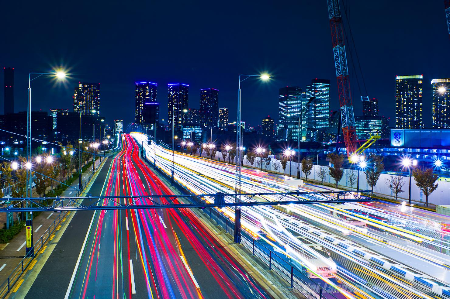 晴海大橋南詰交差点歩道橋からの夜景