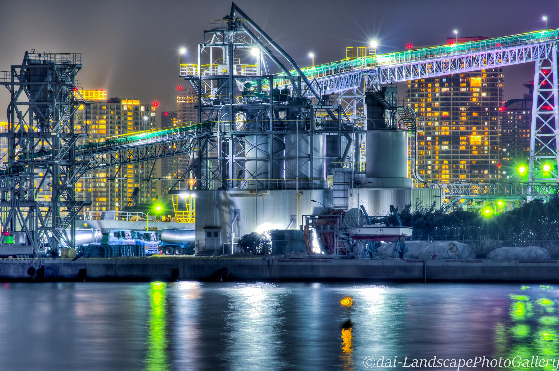 東京港セメント工場夜景【HDRi】
