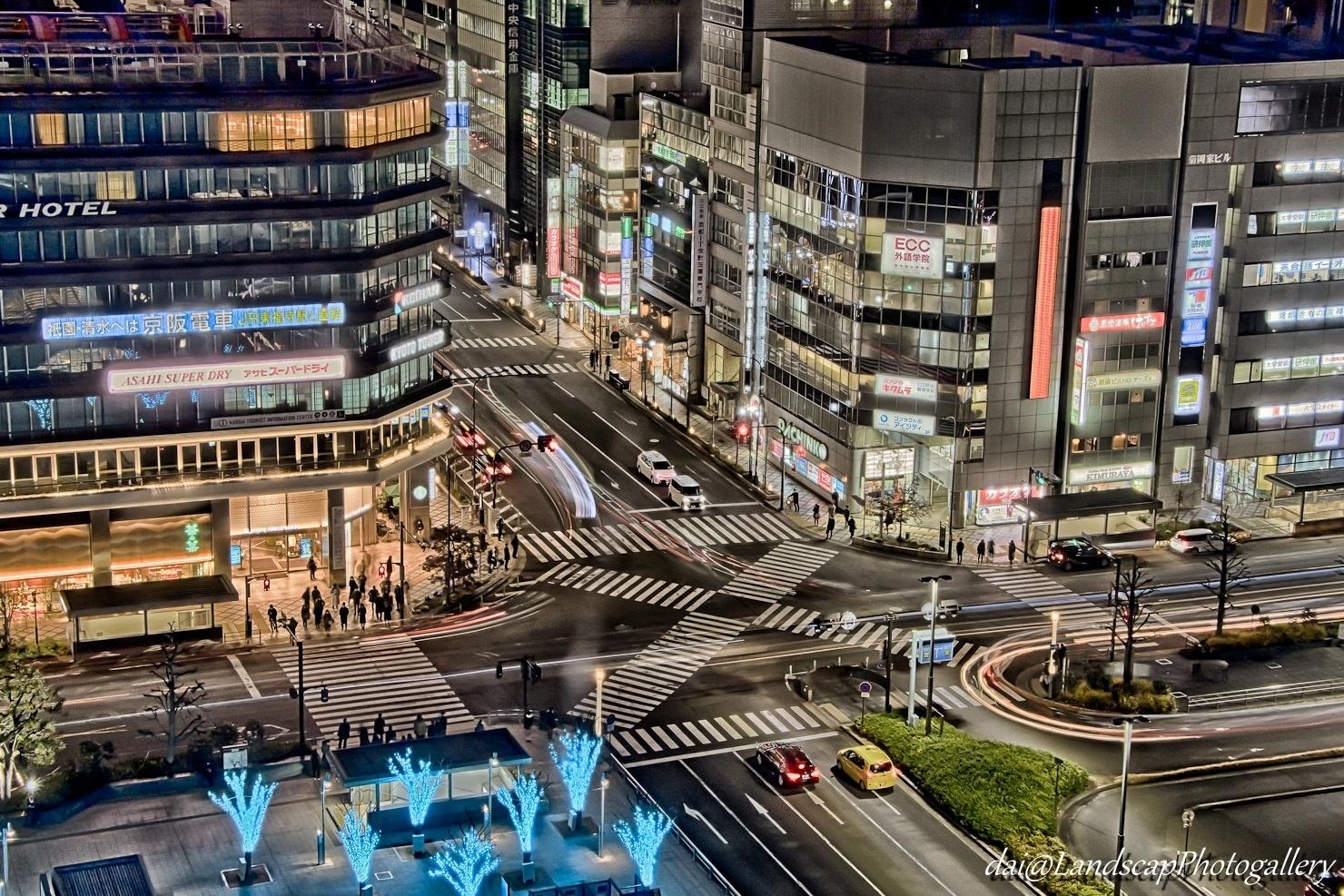 京都駅前交差点夜景【HDRi】