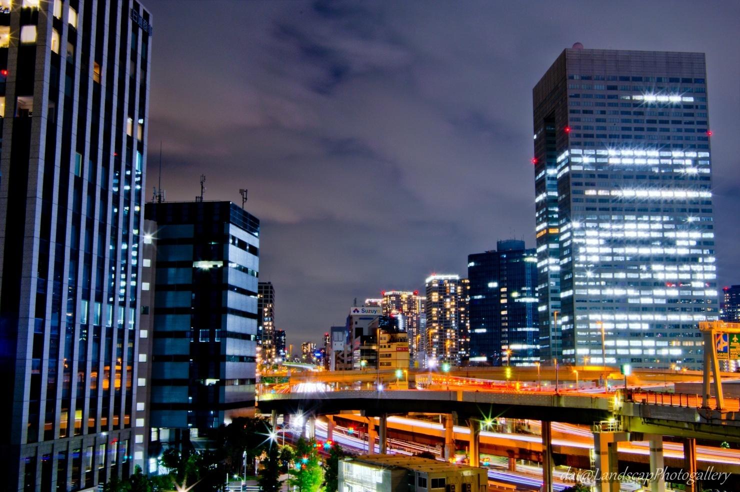 首都高浜崎橋JCT夜景