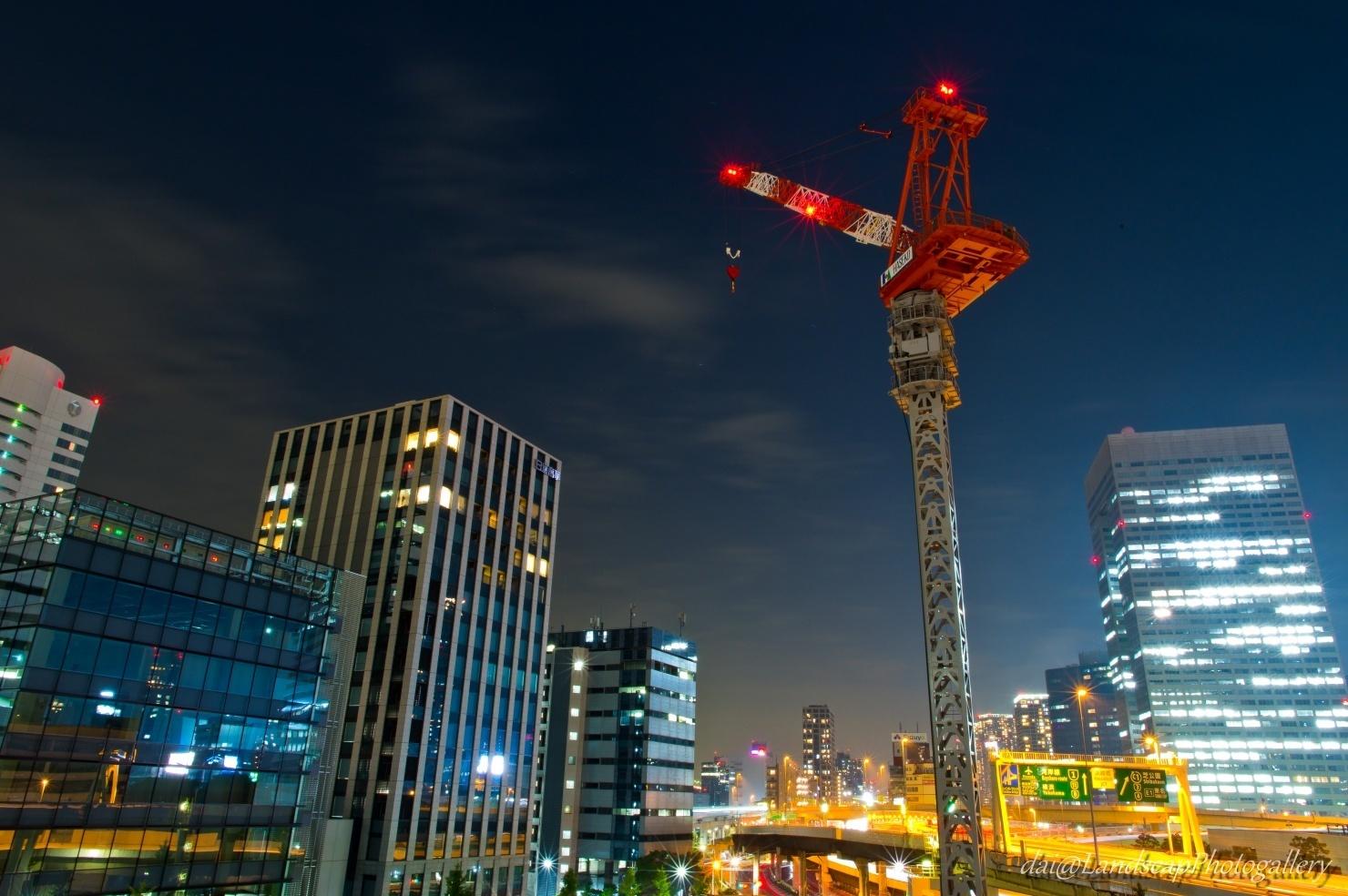 タワークレーンの夜景