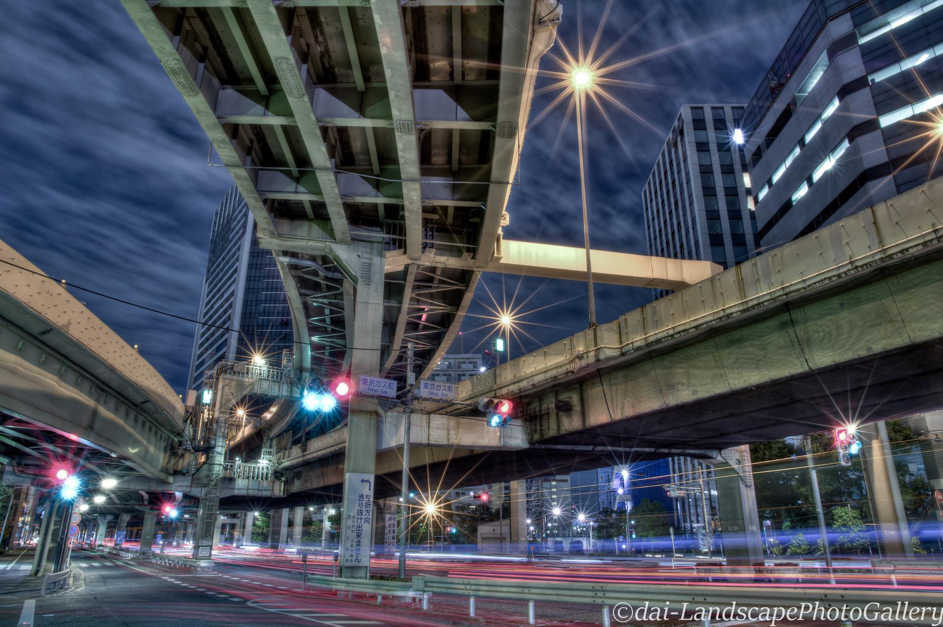 浜崎橋JCT高架下夜景【HDRi】