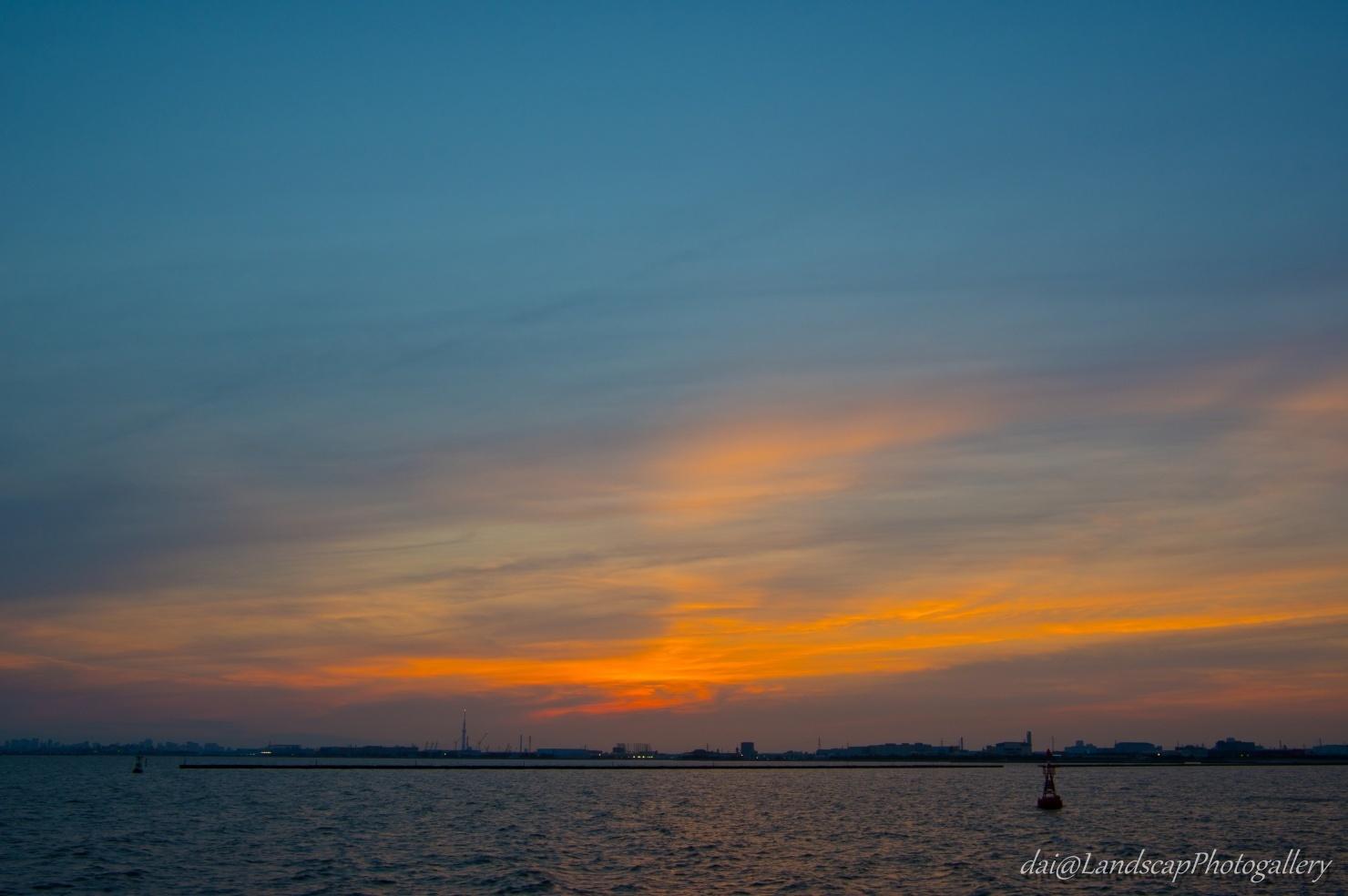 茜浜緑地公園付近の夕景