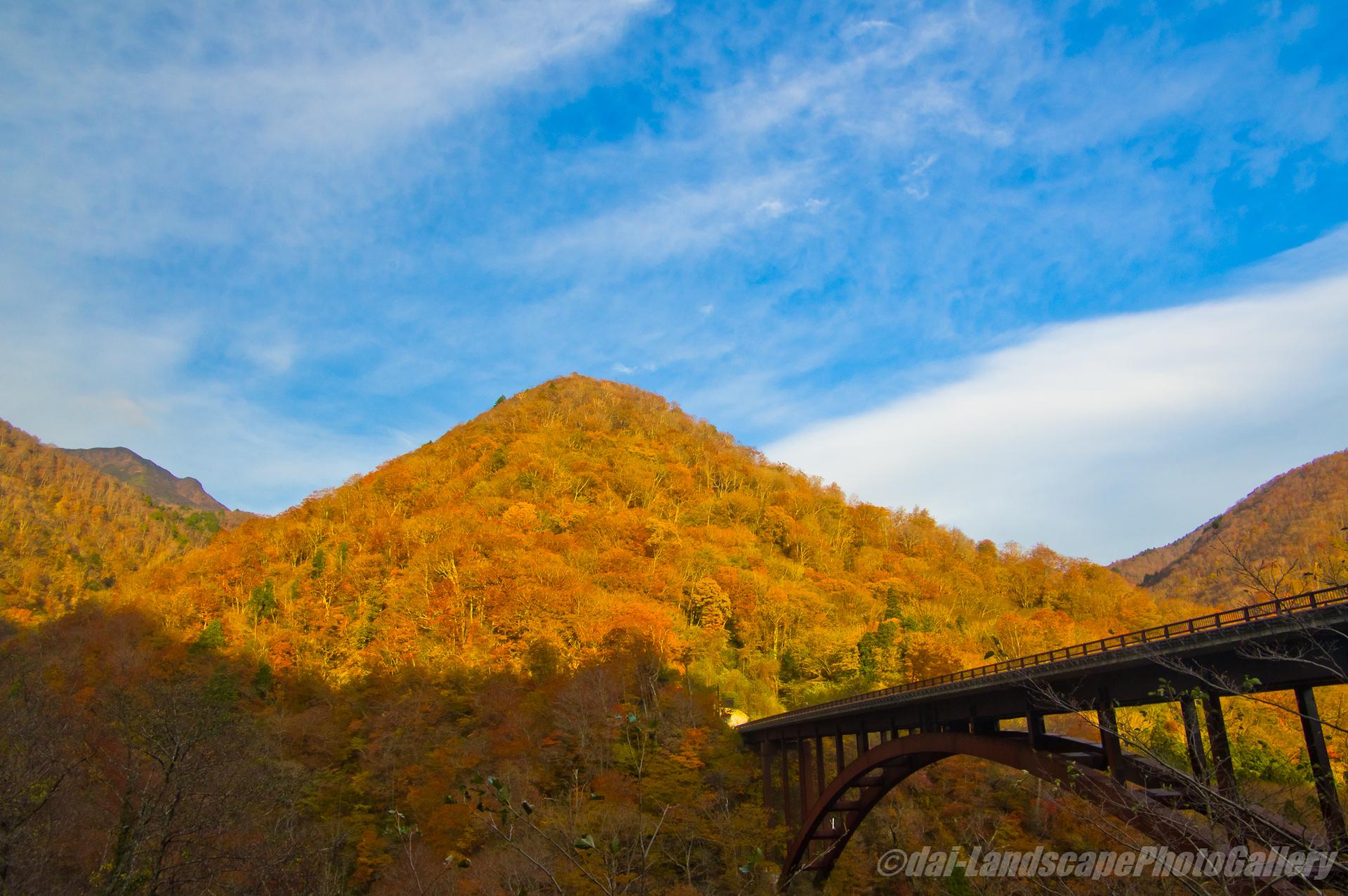 朝の甲子大橋 紅葉風景