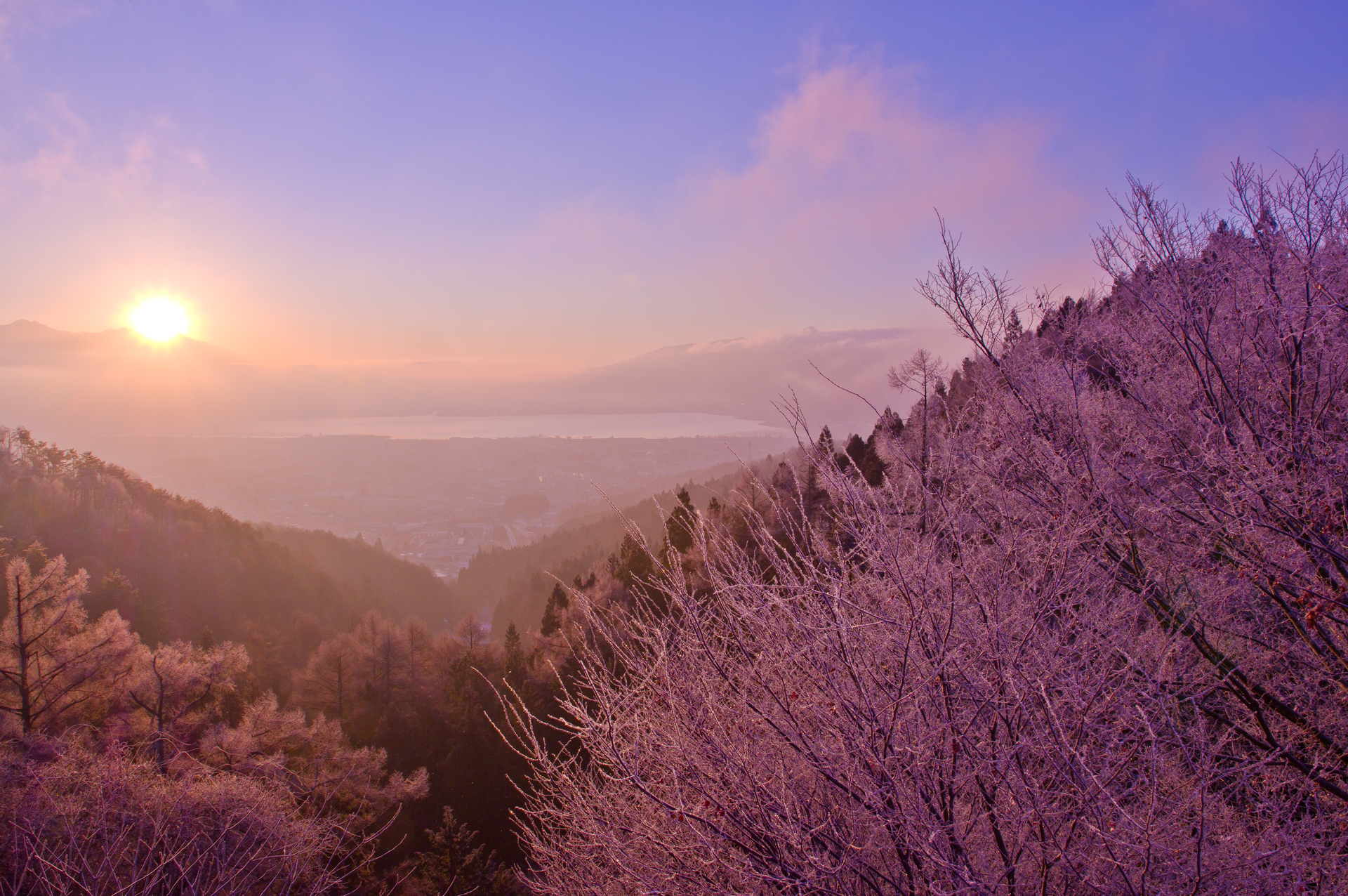 御野立公園 厳冬の朝日