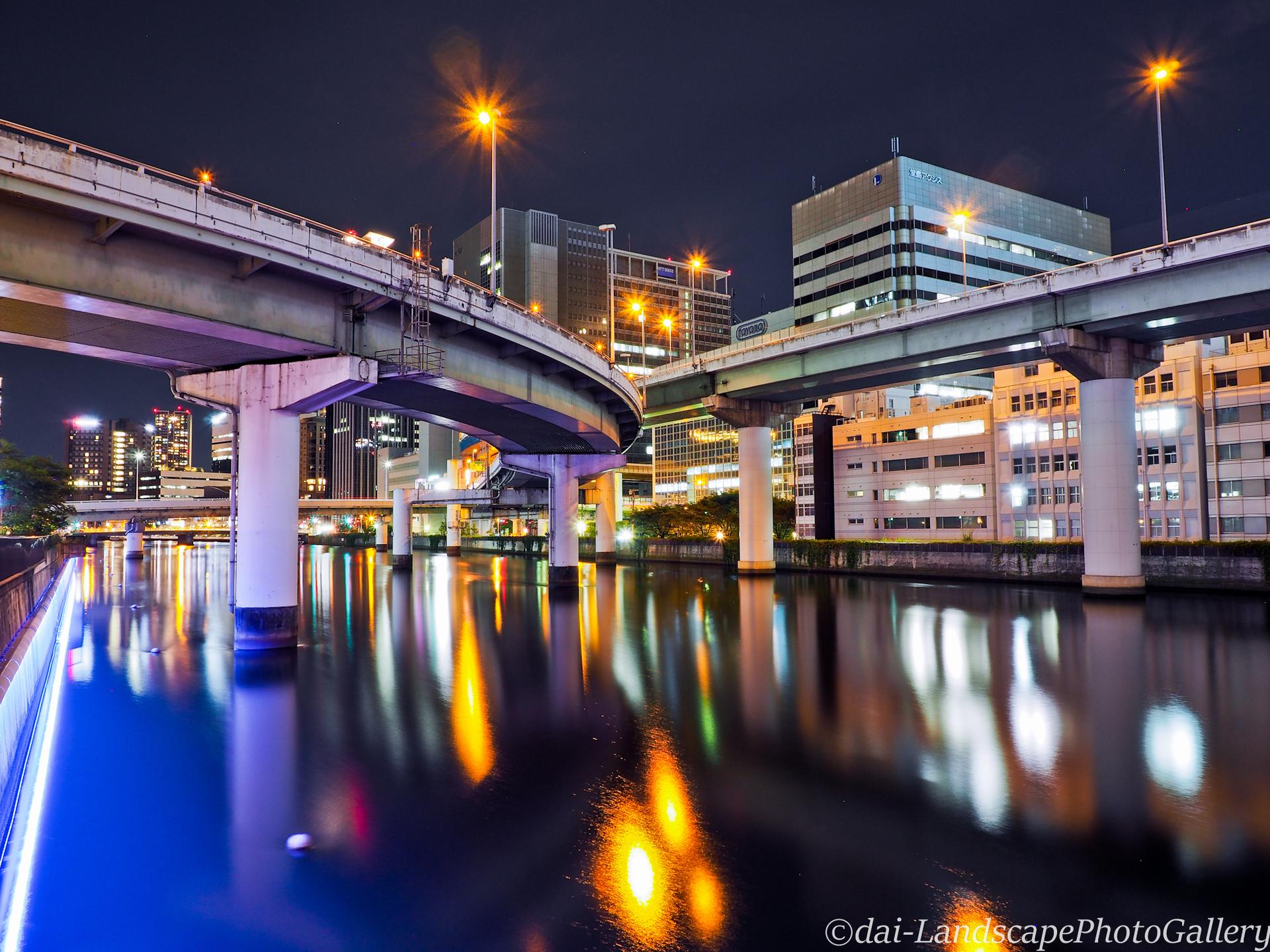堂島川と中之島ジャンクション夜景