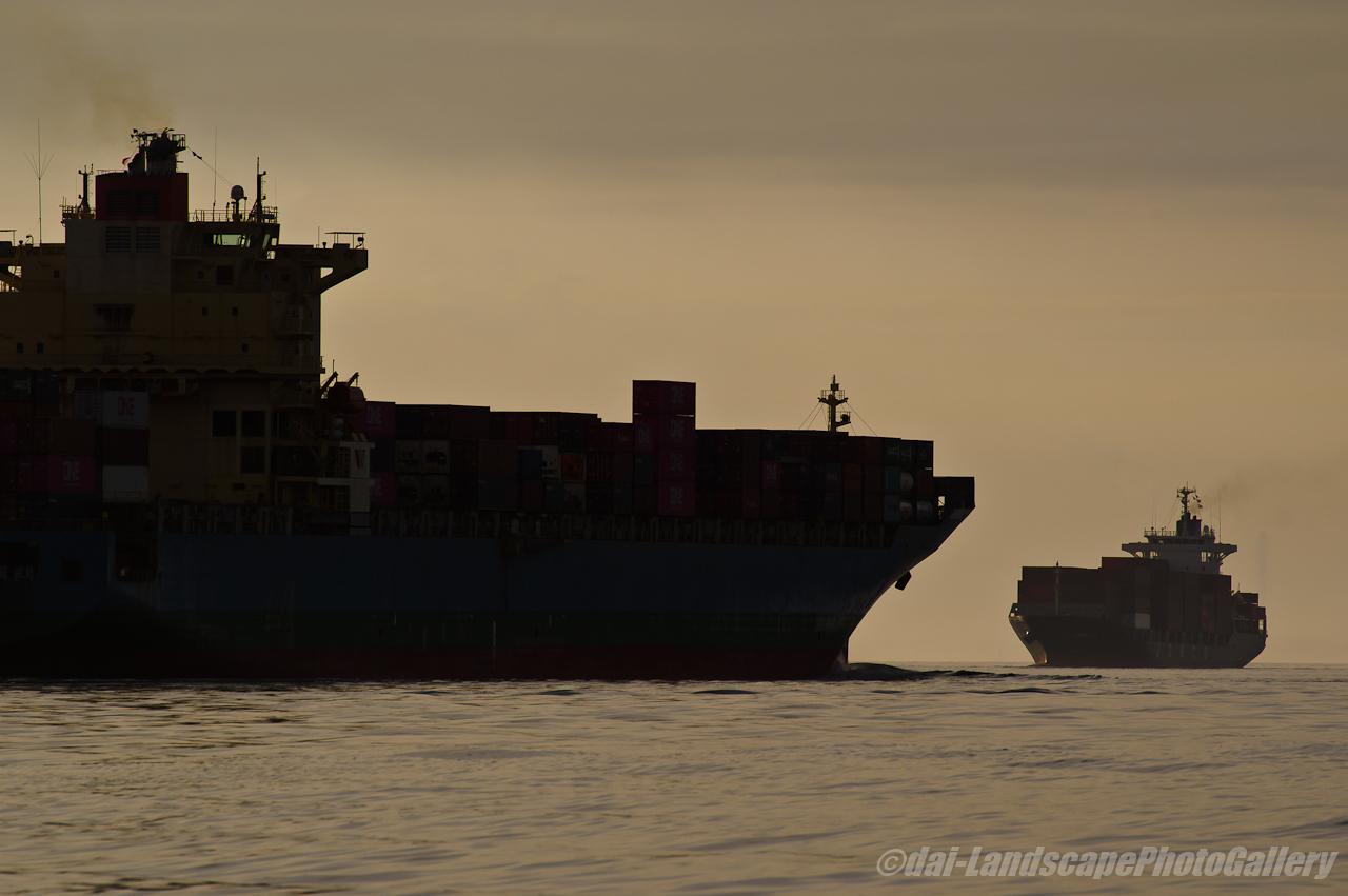 東京湾を行き交う貨物船