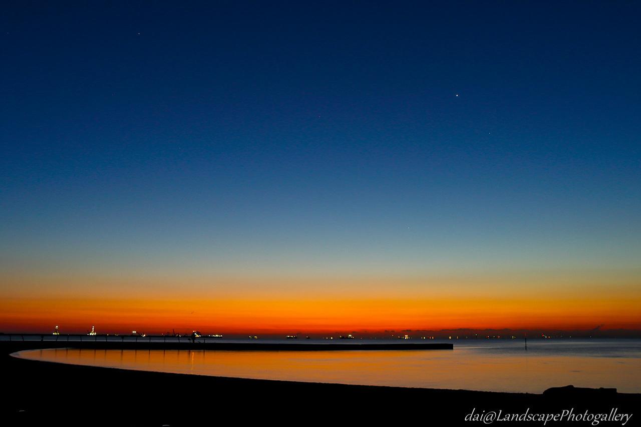 城南島海浜公園の夜明け