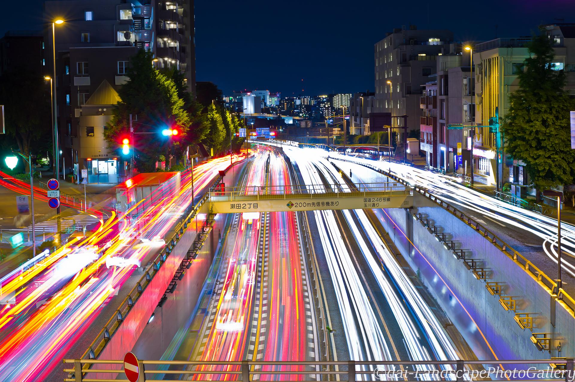 瀬田交差点歩道橋の夜景