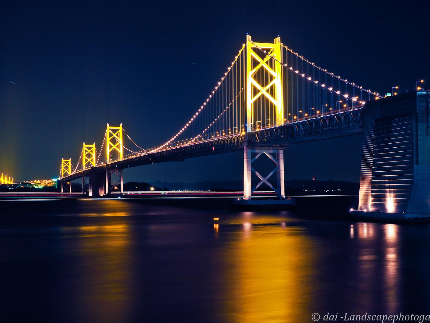 瀬戸大橋ライトアップ夜景