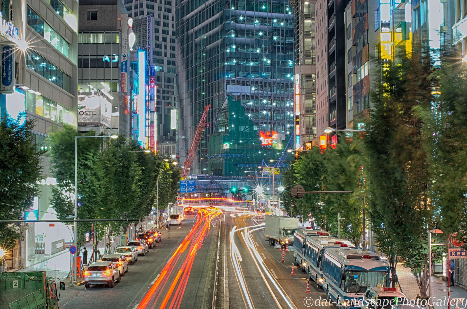 渋谷明治通りの夜景【HDRi】