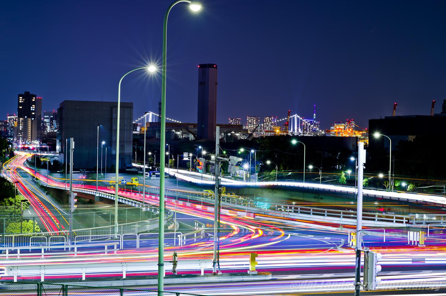 大井埠頭北部陸橋交差点夜景