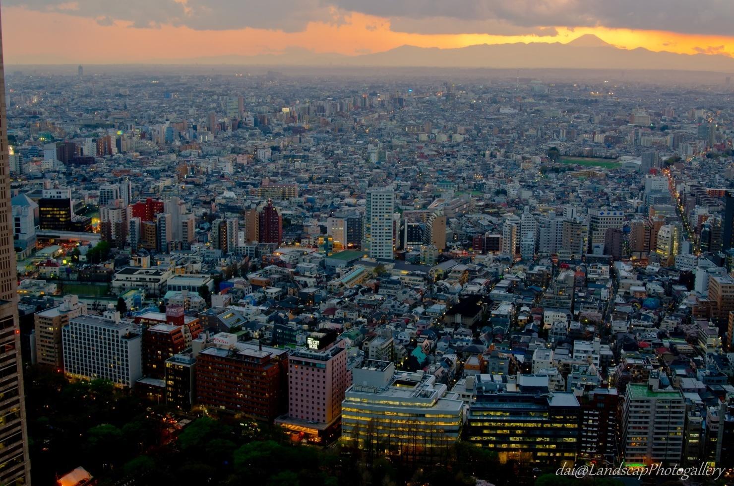 新宿住友ビル展望フロアからの東京夕景