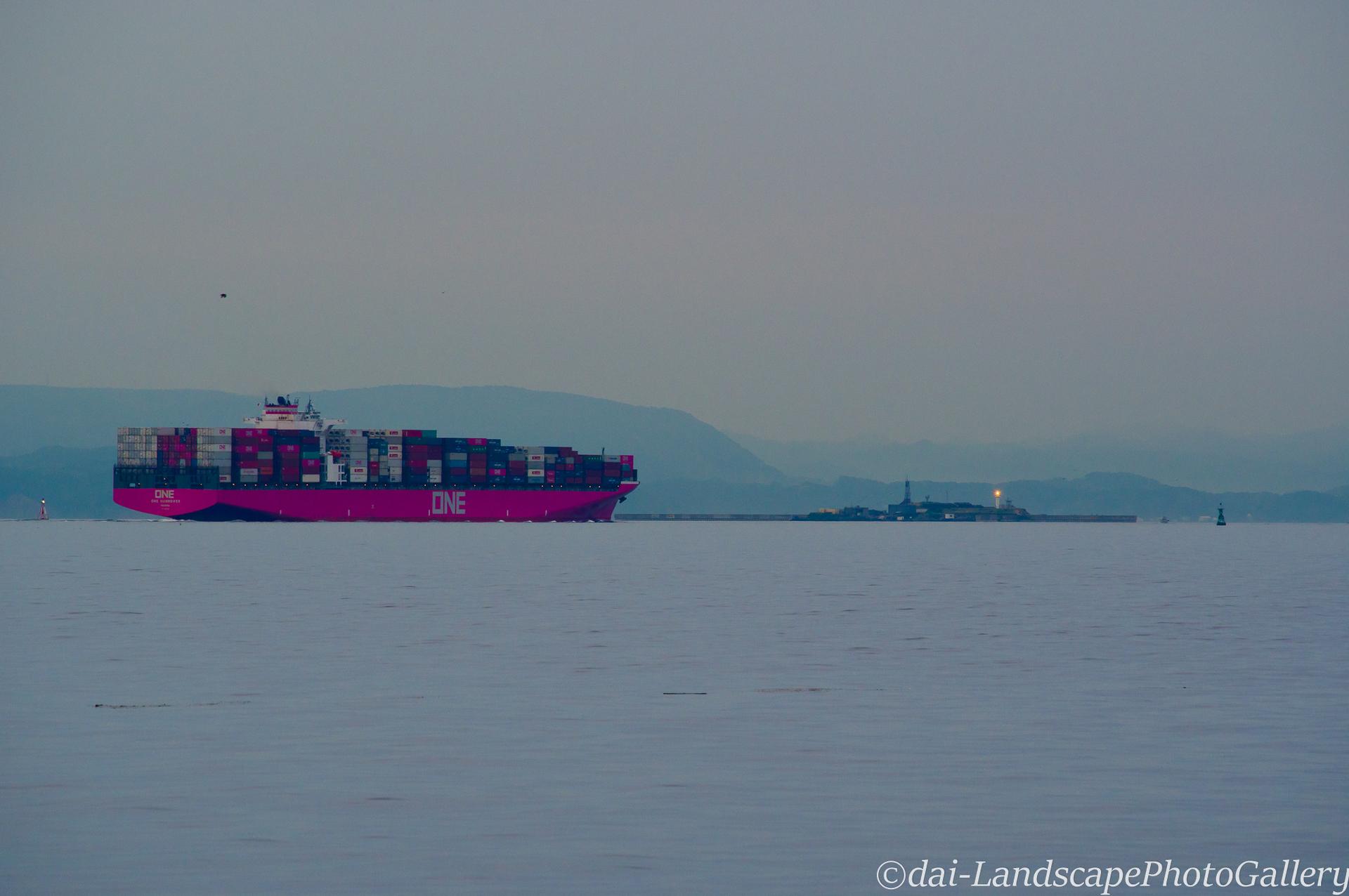 浦賀水道へ向かうコンテナ船