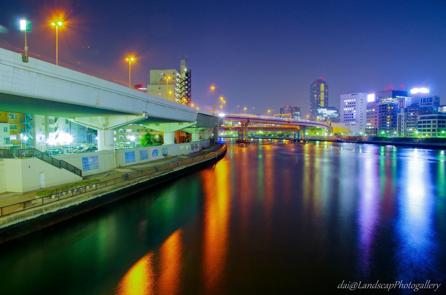 両国橋の隅田川夜景