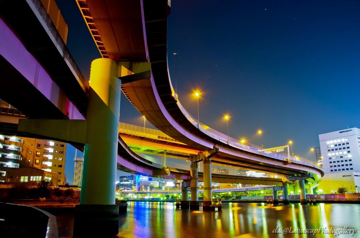 隅田川と両国ジャンクションの夜景
