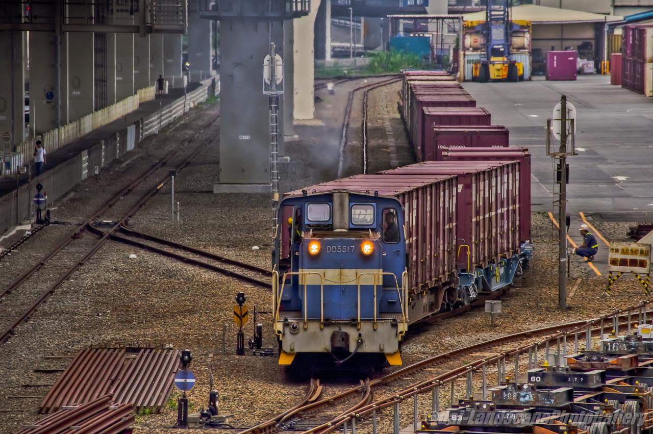 横浜本牧駅 貨物列車発車風景【HDRi】
